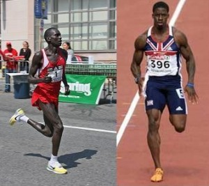 Side by side photos of a marathoner and a sprinter