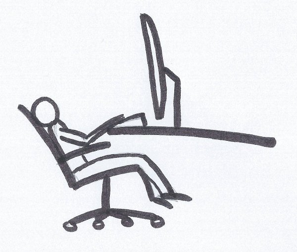 Drawing of a software programmer sitting at the bottom of his chair lower than his computer