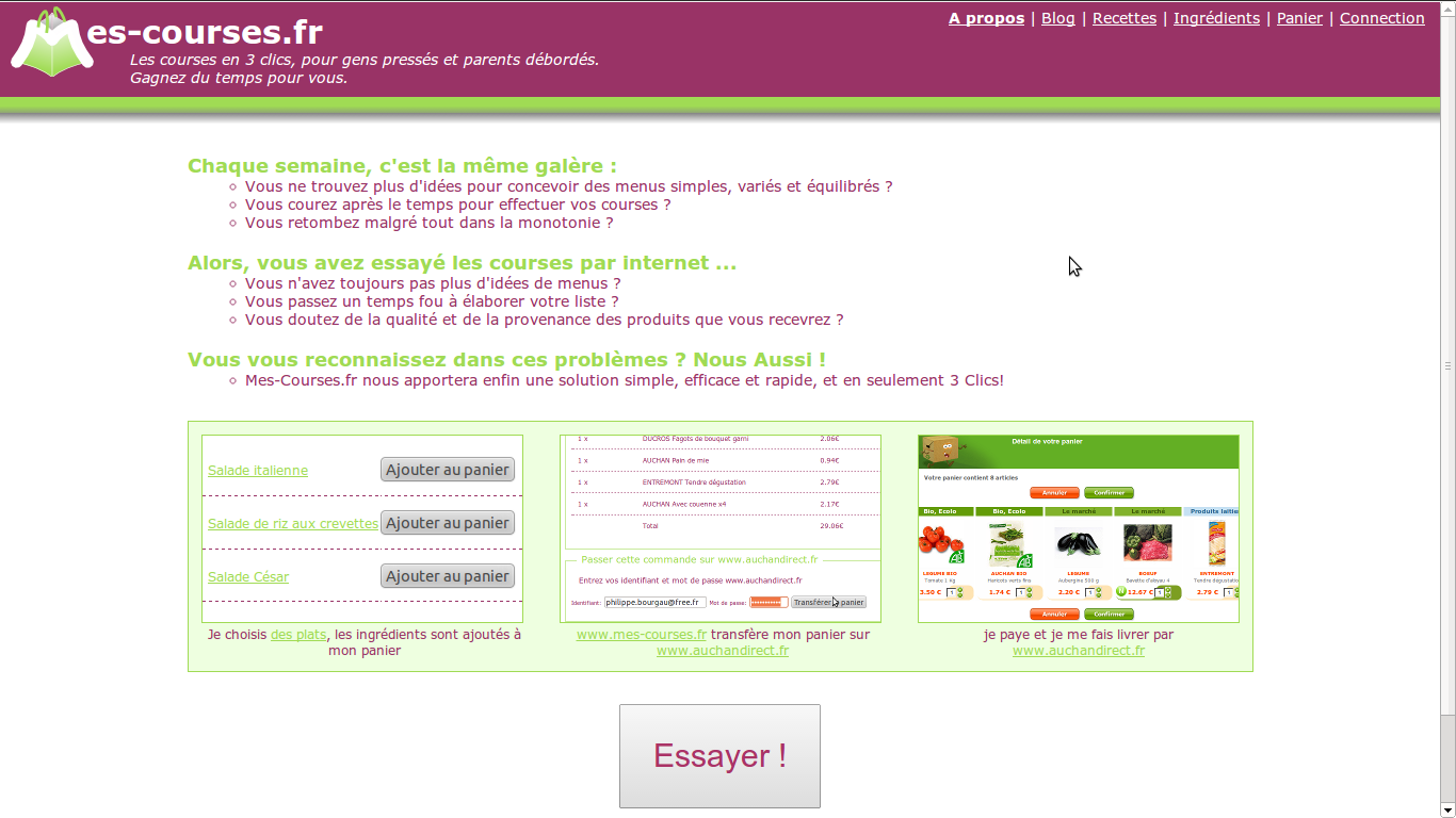 Screen shot of the home page of mes-courses.fr
