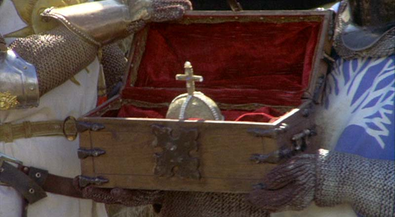 A picture from the Monty Python's Holy Grail movie featuring the holy hand grenade of antioch