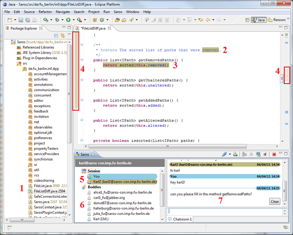 A screenshot from Eclipse with Saros plugin