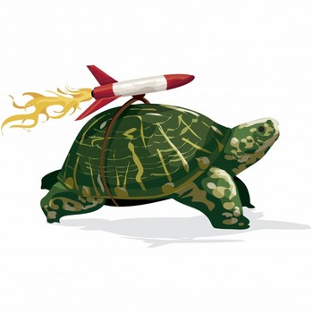 A turtle with a rocket on the back