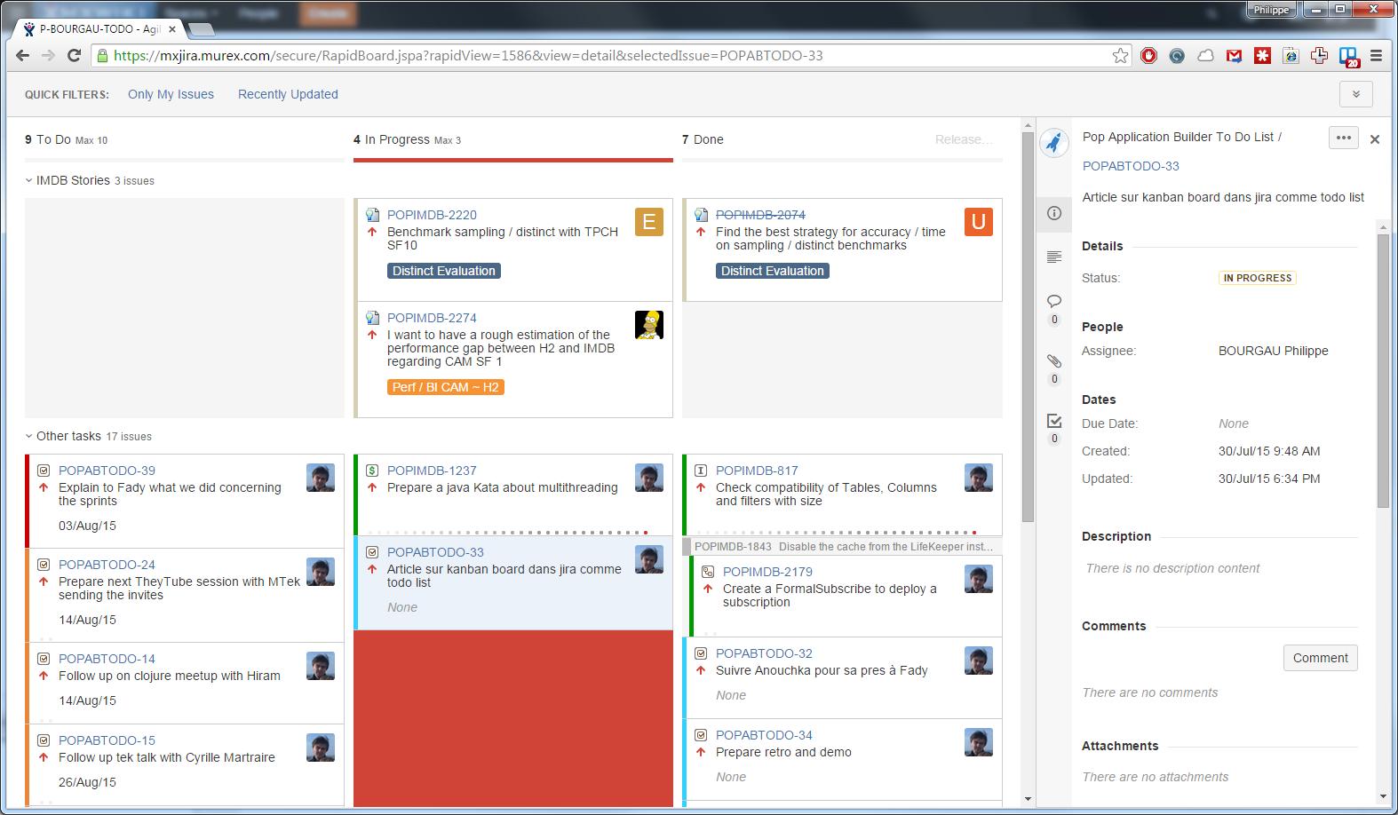 Screenshot of the full JIRA board