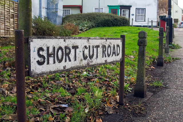 A street panel called Short Cut Road