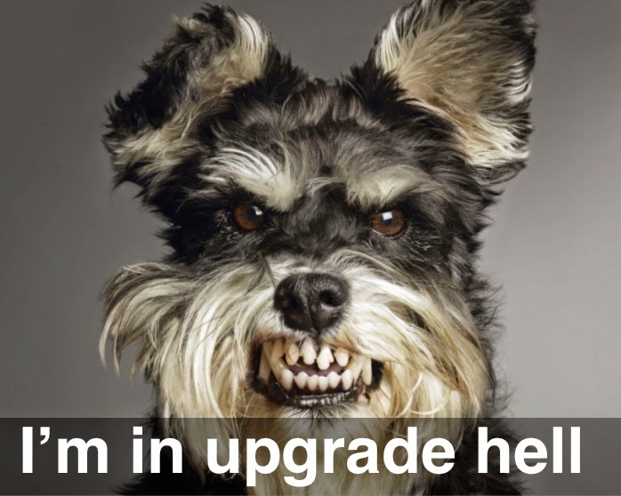 "A naughty dog with a banner ""I'm in upgrade hell"""