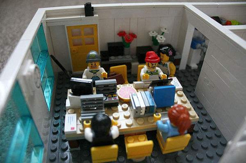 A miniature office in Legos