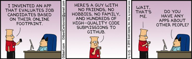 A Dilbert cartoon about hiring based on internet profile