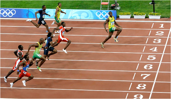 A race where Usain Bolt leave everyone meters behind