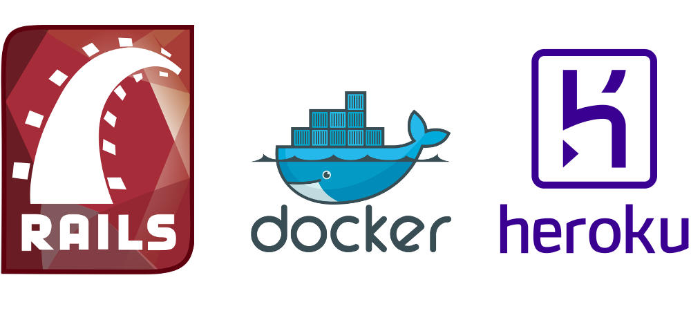 The 3 logos of Rails, Docker and Heroku