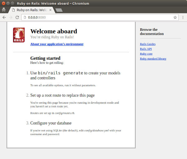 The default homepage for a new Rails application
