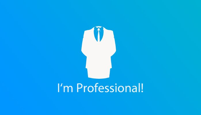 A logo of a guy wearing a suit