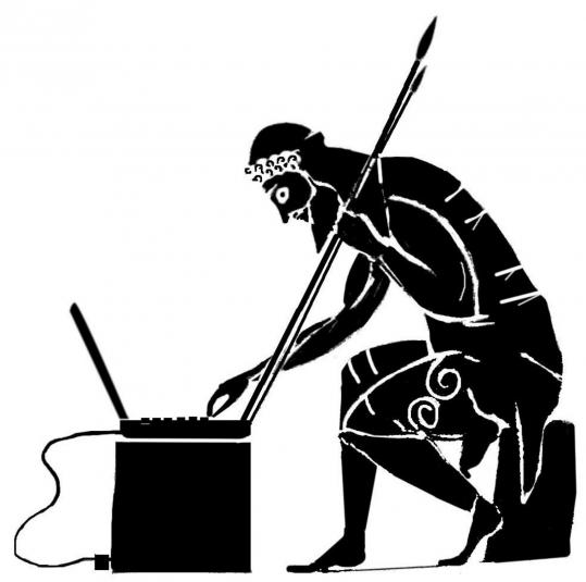 A drawing of an ancient Greek hero typing at a computer