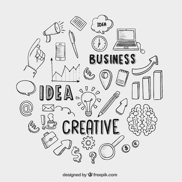 Hand drawing with stating 'creative business idea'