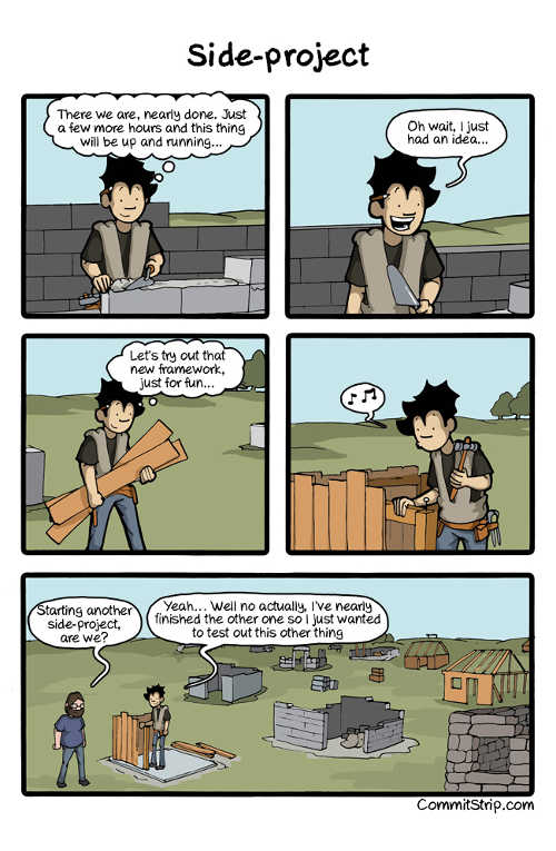 A comic strip about side projects