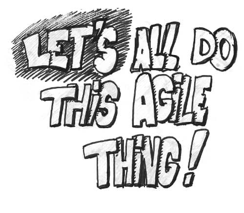 Drawing of a street tag 'Let's all do this Agile thing !""