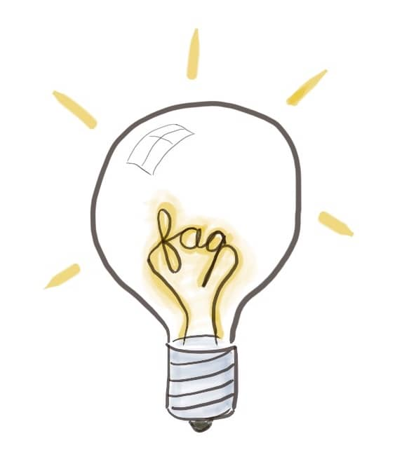 A drawing of FAQ in a lightbulb