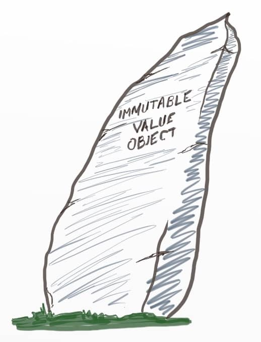 "A drawing of a rock written ""Immutable Value Object"""
