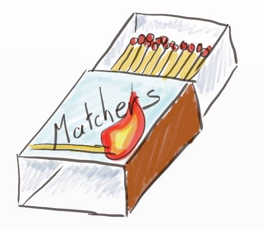 A drawing of a box of matches, branded 'Matchers' on top