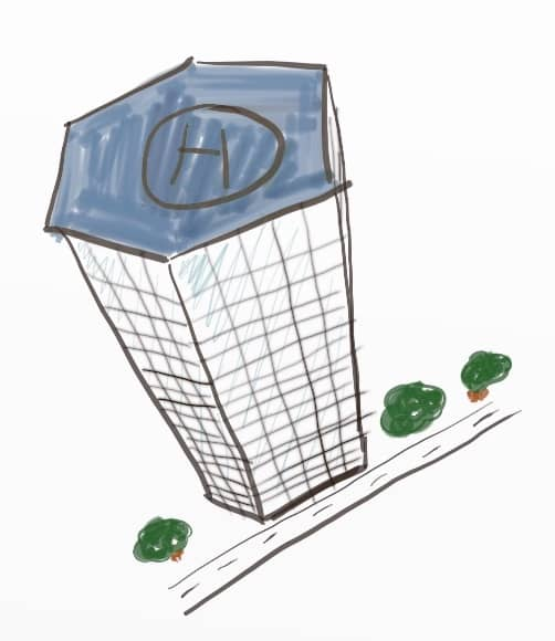 A drawing of a hexagon-shaped building