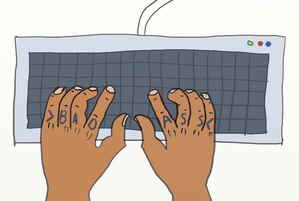 "Drawing of 2 hands of a badass developer over his keyboard, with "">badass<"" tatooed on his fingers"