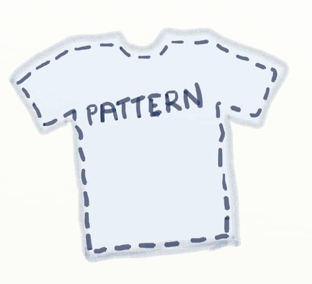 Drawing of the pattern for a T-shirt. Patterns can be useful for Incremental Software Development of Large Scale Refactoring