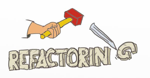 Drawing of a hammer removing the G from refactoring written with stones. Trimming a refactoring is an effective way to increase its value, and make the business case better.