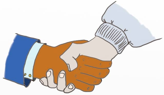 Drawing of a handshake between a business person wearing a suit and a developer wearing a hoody. Becoming business partners serves each party's interests