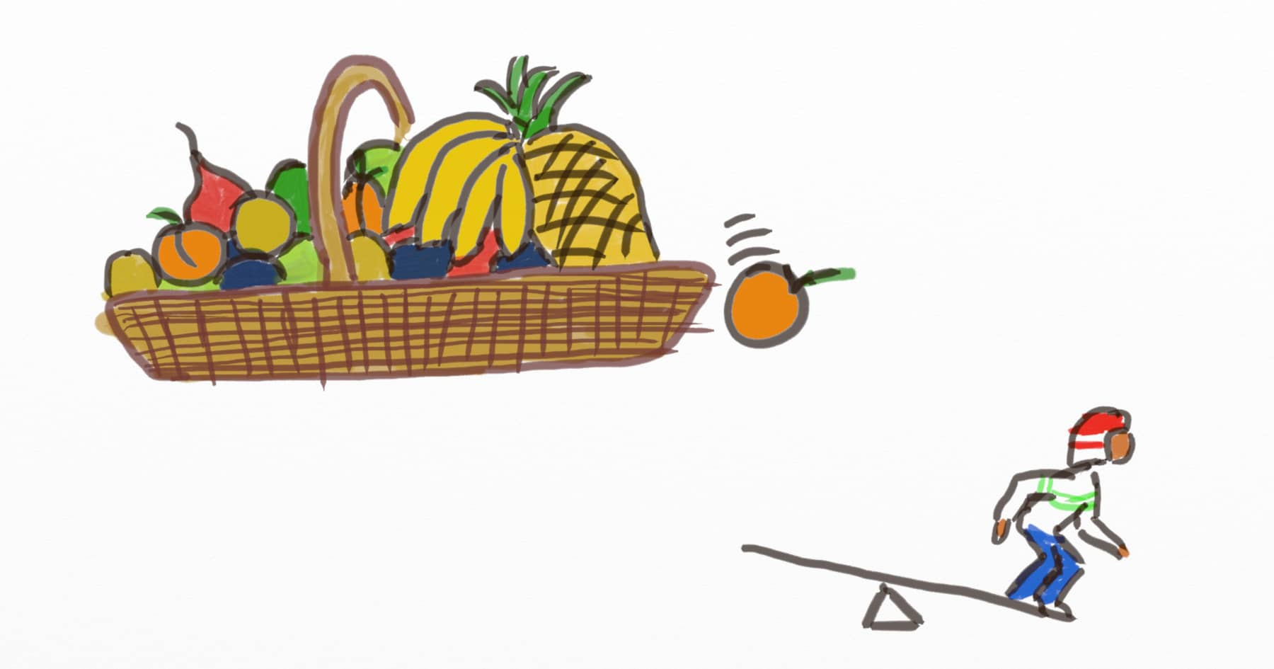 Drawing of a guy on a catapult, waiting for a giant fruit to fall from a fruit basket to propel him in the air. A fruit basket at work resulted in an unexpected productivity increase.