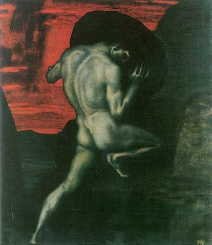 Painting of Sisyphus by Franz von Stuck, 1920. Pushing tasks through a Kanban board can sometimes feel like Sisyphus task