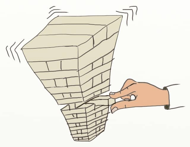 Drawing of a Jenga tower about to fall. Without Big Design Up Front nor incremental design techniques, software is a catastrophe waiting to happen