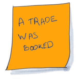 "Drawing of a Domain Event orange Post-It written ""A trade was booked"". Domain Events are the main building blocks of DDD Event Storming"