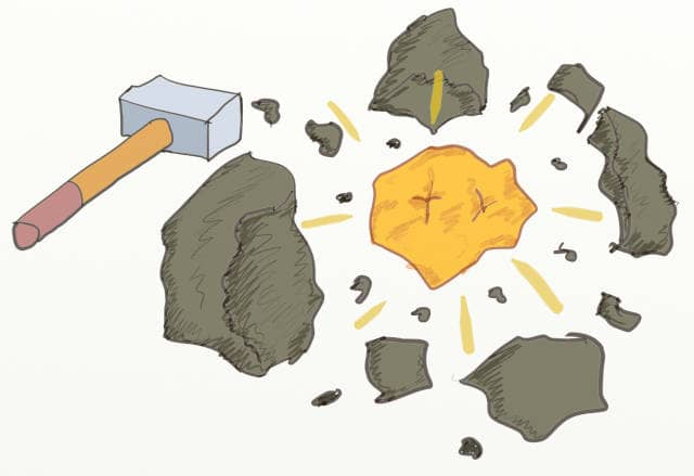 Drawing of a hammer next to a gold nugget between rocks. Using Event Storming and DDD is a good way to extract and highlight your core bounded contexts within your system