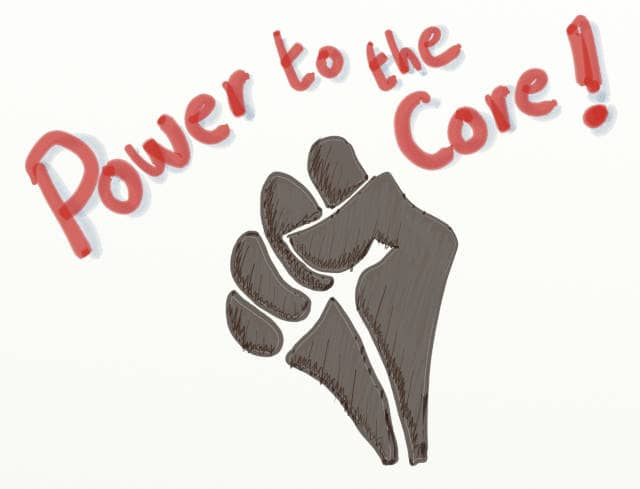 A drawing of a raised fist with a slogan 'Power to the Core'. Event Storming and DDD are effective ways to grant the upper hand (put them upstream) to core bounded contexts.
