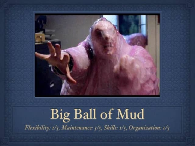 A Slide from presentation 'Context Mapping in Action' by Alberto Brandolini, the inventor of Event Storming, where he defines the 'Big Ball of Mud' DDD domain relationship pattern as Flexibility 1/5, Maintenance 5/5, Skills 1/5 and Organization 1/5.