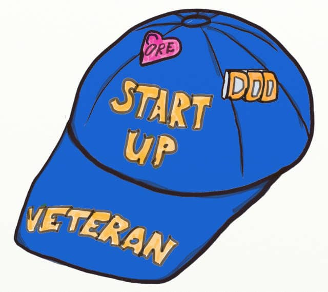 Drawing of a 'Startup Veteran' cap, with badges for Core and DDD. Advance DDD Domain Relationship can protect the core domains's focus, priority, budget and time