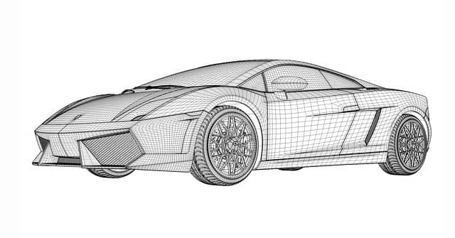 Wireframe prototype of a Lamborghini car. Event Storming and DDD can be used to define software prototypes to answer NFR risks.