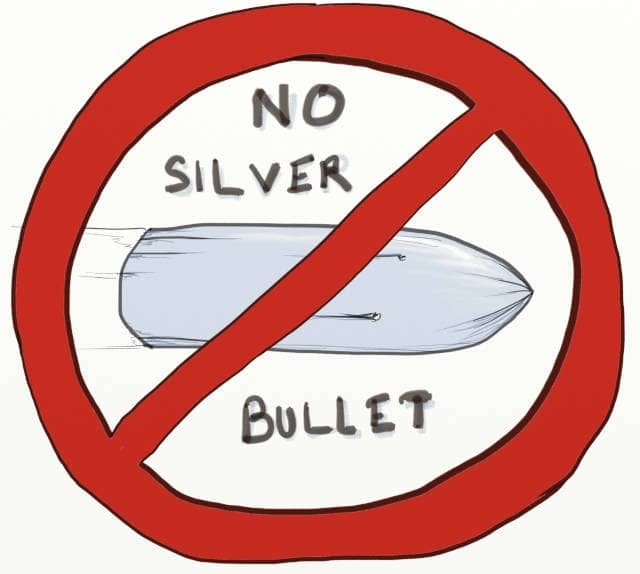 "Drawing of a bullet in an interdiction roadsign, written ""No Silver Bullet"". Event Storming and DDD can help use to draft the boundaries of our services, but we must remember that microservices are no silver bullet"