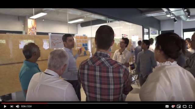 Thumbnail from a video of a team self-selection workshop involving 200 people at KPN iTV