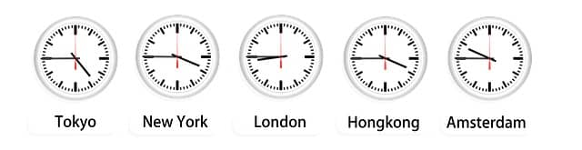 Synchronized clocks from Tokyo, New York, London, Hong Kong and Amsterdam. Pair programming needs to be adapted to work well across time zones.