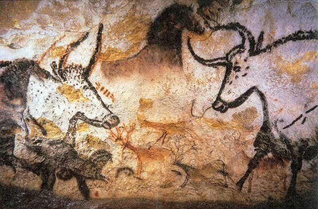 Photo of pre-historic paintings found in Lascaux cave in France. Human beings were made to think and communicate through visual medium.
