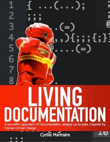 Cover of Living Documentation book which explains how to generate a domain context map out of the source code. These are as realistic as diagrams can be!