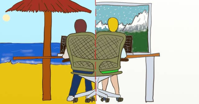 Drawing of a pair of programmer doing remote pair programming from different regions: mountain and beach. One of the main benefits of remote pair programming is allowing people to work from wherever they like.