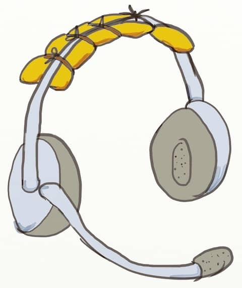 Drawing of the headphone I had tuned with extra cushion because it was hurting my head. My advice is to buy the best you can afford when remote pair programming