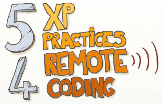 "Drawing of the words ""5 XP Practices 4 Remote Coding"""