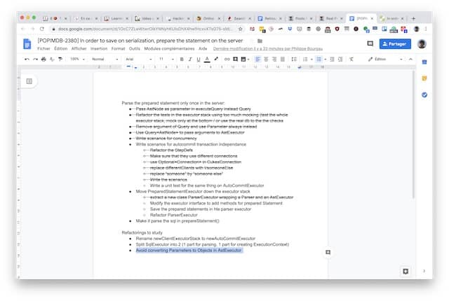Sample detailed TO DO list in Google Docs. Maintaining a TO DO list for programming made remote pair programming easy.