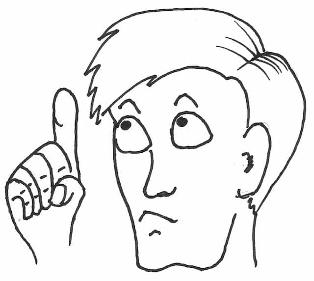 Drawing of 'an expert' looking upwards with a finger raised. The best practices of software engineering are mostly the opinions of experts.