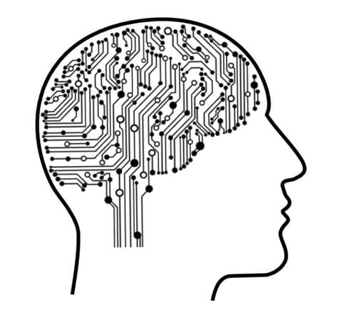 Black and White wireframe illustration of a human head with a brain made of silicon circuits. Machine Learning in Software Engineering could help us to make better decisions.
