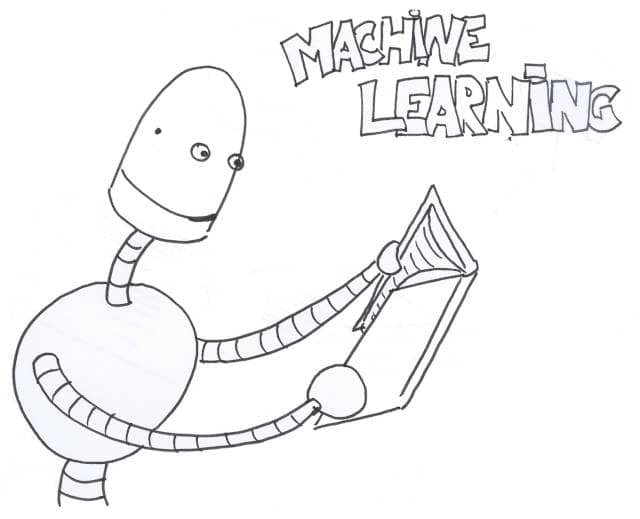 A drawing of a robot reading a book. Can we use machine learning on software engineering challenges?