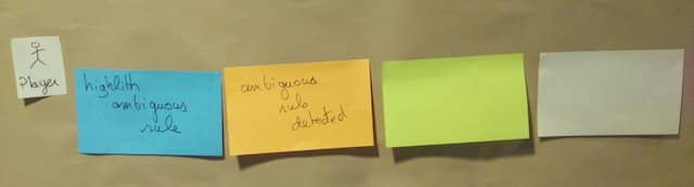 Photo of blank Read-Model green post it and blank UI Mock-up white post-it at the right of the 'Ambiguous Rule Detected' domain event