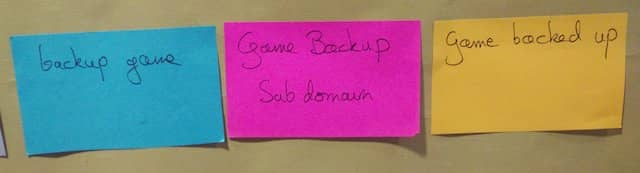 Photo of the 'Game Backup Subdomain' external system pink post-it between the 'Backup game' command to the left and the 'Game backed up' domain event to the right